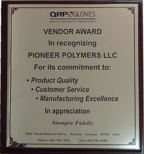 Vendor Award for Polymer Plastics